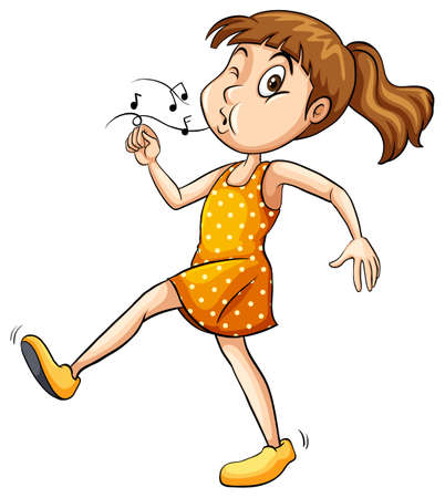 yellow dress: Girl in a yellow dress whistling while walking