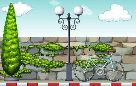 Pedestrain path witha bicycle and a lamp Vector