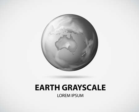 grayscale: Earth picture in grayscale on white background