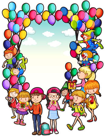 Frame of children with balloons and celebration Vector