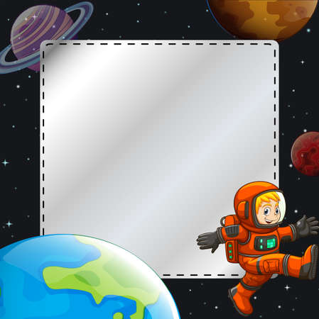 earth from space: Astronaut in space theme frame Illustration