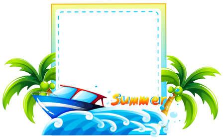 夏天题材框架与海滩和小船的