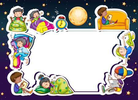 Frame of children with their routine