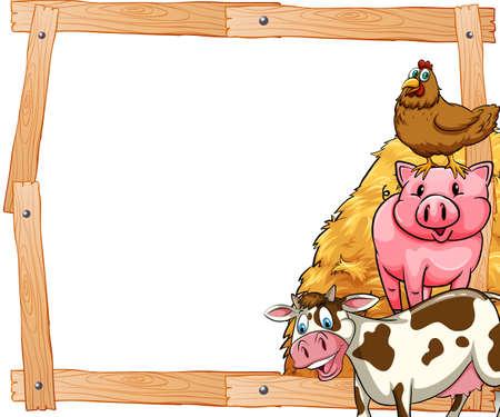 Cadre en bois avec des animaux domestiques sur le côté Banque d'images - 39163458