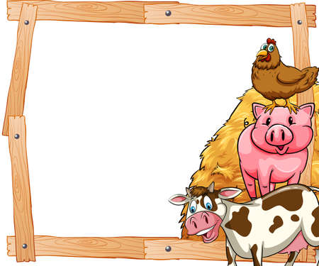 domestic animals: Wooden frame with domestic animals on the side