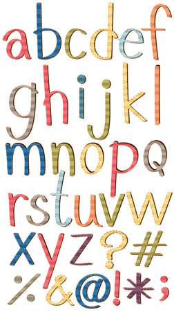 Set of lowercase alphabets and symbols