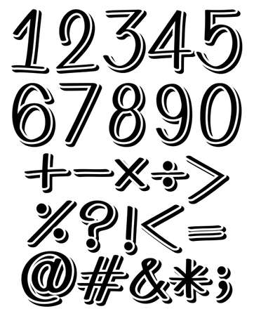 countable: Set of numbers and maths symbols in black color
