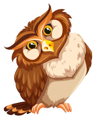 white background: Cute brown owl on white background Illustration