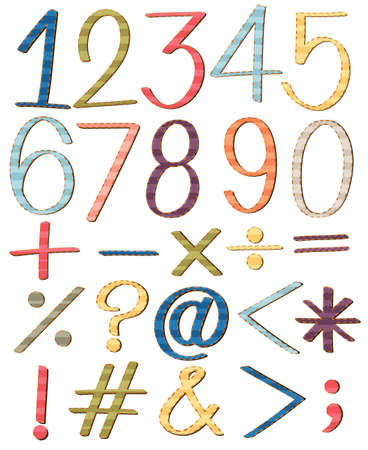 numbers: Set of numbers and symbols