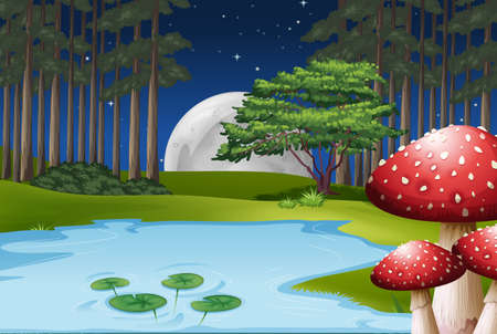 Forest scene with full moon sky and stars Vector
