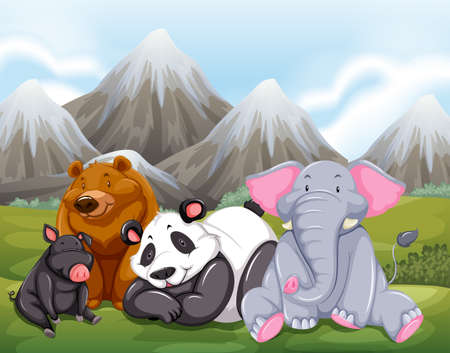 mountain view: Animals sitting on grass with mountain view behind Illustration