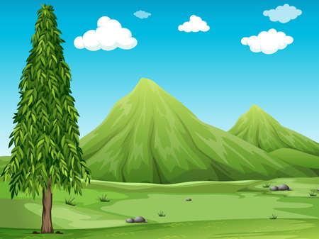 green field: Green field with a tree and mountains