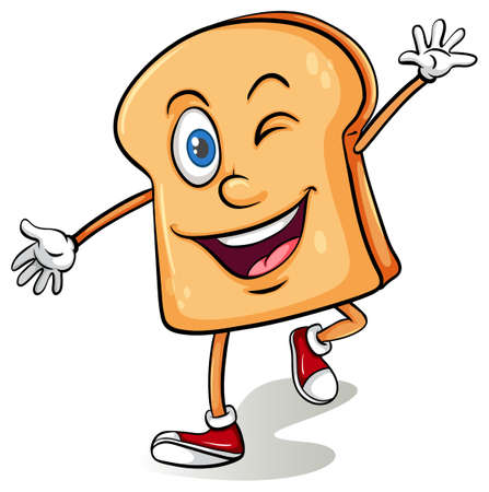 Slice of brown bread with winking eye Illustration
