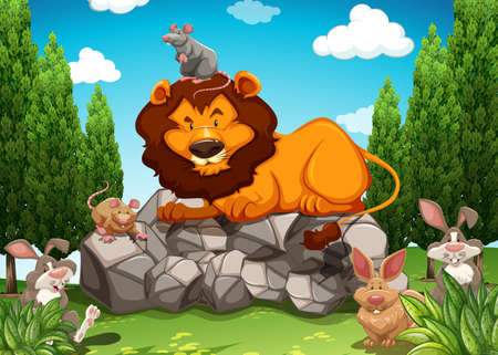 mouse animal: Animals in a jungle poster Illustration