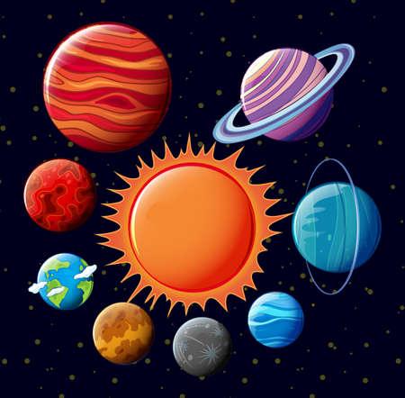 saturn: Poster of solar syetem with stars Illustration
