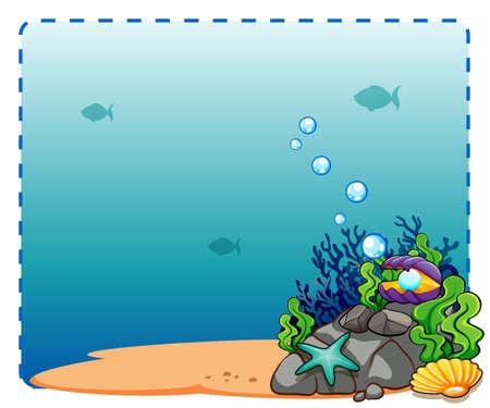 fond marin: Sous cadre thème de l'eau sur fond blanc Illustration