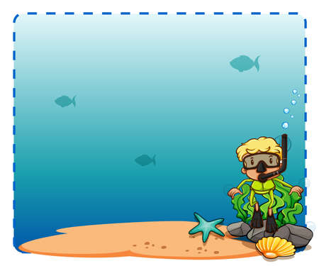 Frame of underwater theme on white background Vector