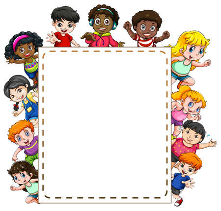 Frame of smiling children on white background
