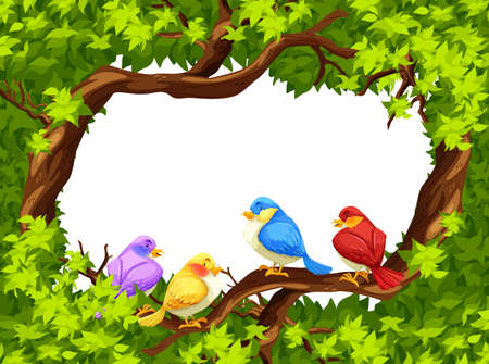 tree illustration: Four birds sitting on a branch of a tree