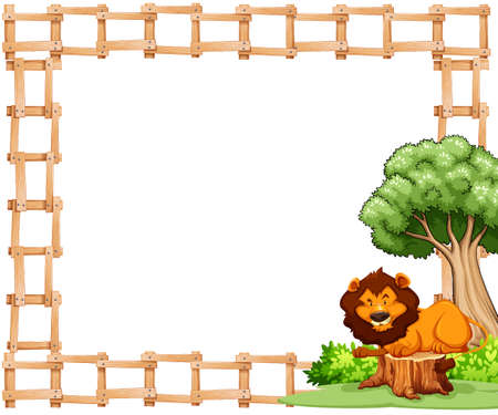 Wooden fence and sitting lion frame on white background