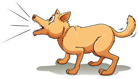 A brown dog barking upwards Illustration