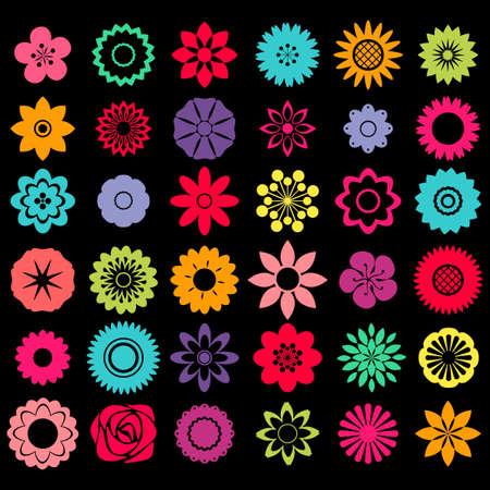 silhouette fleur: Différents modèles de modèles de forme de fleur