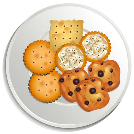 white plate: Cookies on a white plate Illustration