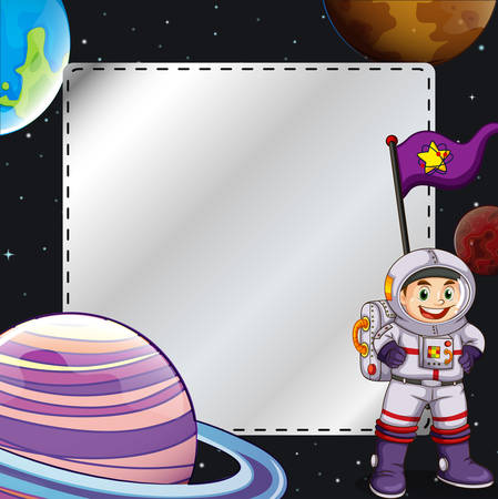 Frame of universe design with astronaut Vector