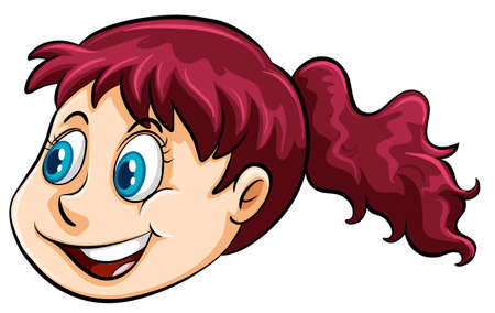 red hair girl: Smiling face of a red hair girl Illustration
