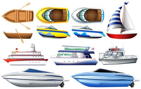 barco caricatura: Conjunto de barco y barco en el fondo blanco