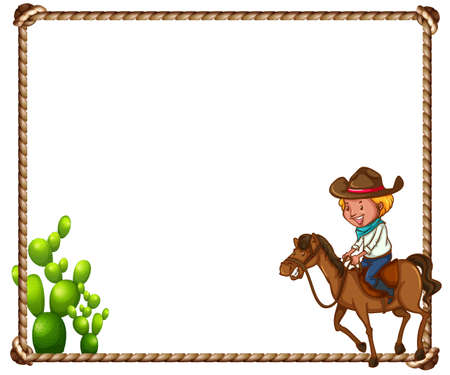 Cowboy Theme Frame With Rope And Cactus Royalty Free Cliparts ...