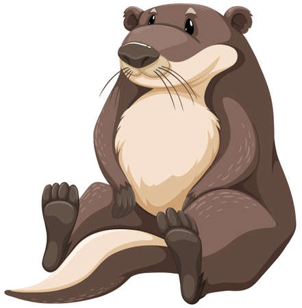 otter: Cute brown otter on white background