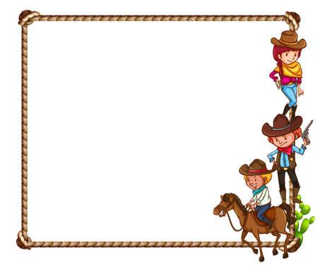 femme a cheval: Cadre du th�me de cow-boy sur fond blanc Illustration