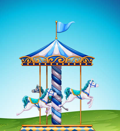 White and bluse carousel in a park Illustration