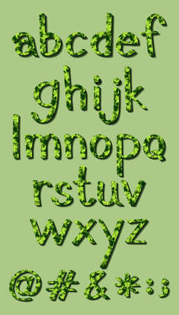 lowercase: Set of lowercase alphabets in green leaves design