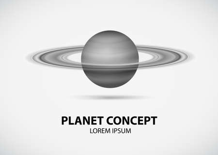 Grayscale planet concept on white background Illustration