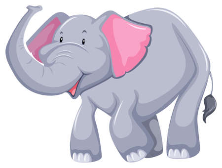 Smiling elephant with trunk up