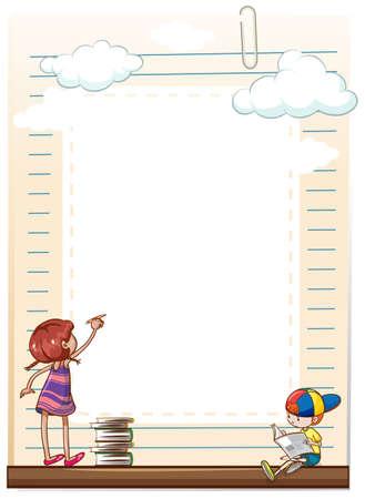 blank sheet: Muchacha con el l�piz la escritura en la hoja en blanco