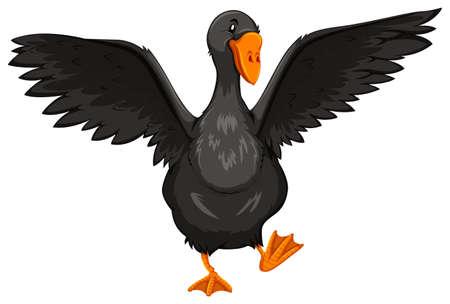 黒のオープンの翼とガチョウ  イラスト・ベクター素材