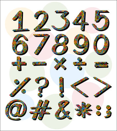 numbers: Numbers and symbols on white background