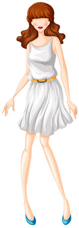 up skirt: Sketch of a woman in white dress with yellow belt