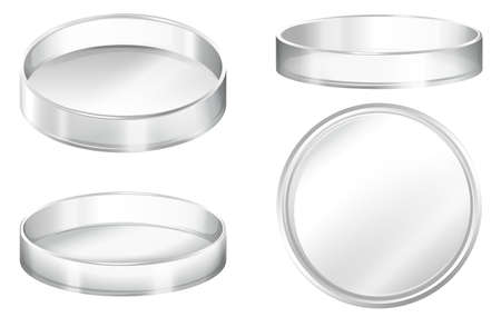Petri dishes on a white background Vectores