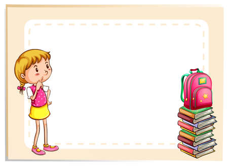 Frame of a girl looking at a pile of book Vector