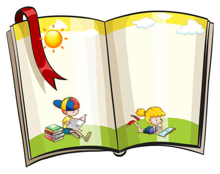 An open book with children reading theme design Vector