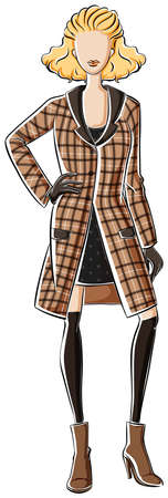 overcoat: Sketch of a female in black dress and brown overcoat Illustration