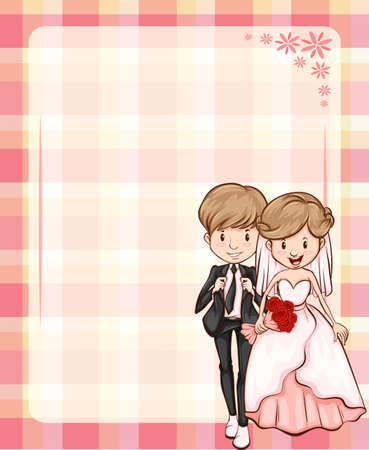 mariage: Pink color theme wedding invitation Illustration