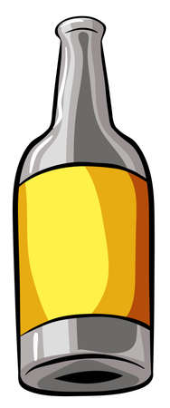 lable: Bottle with yellow lable on white background