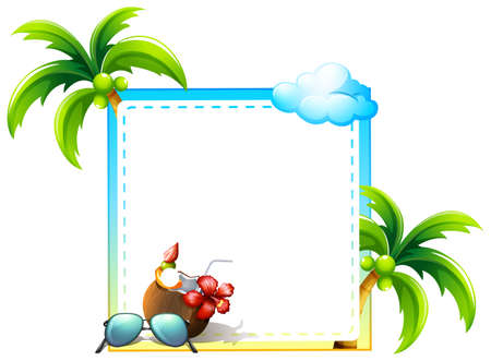 coconut drink: Frame of coconut and coconut trees design