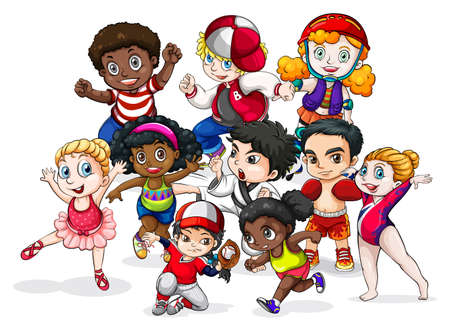Group of children in different costumes Vector