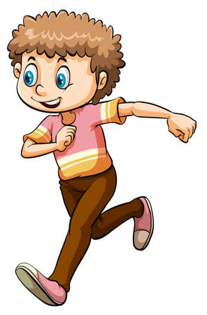 smile close up: Boy in running posture on white background